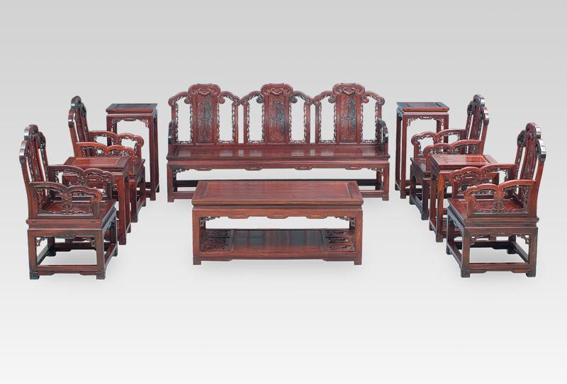 产品品牌:[邵氏红木] 产品名称:红酸枝福庆如意纹